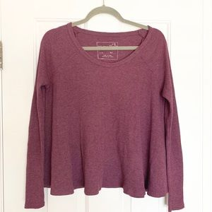 Free People | Purple Waffle Knit Thermal Top